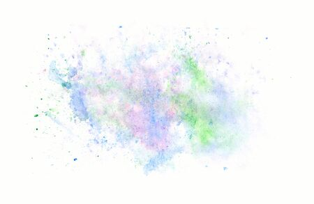 Abstract image of blue, green, lilac watercolor splashes and drops on a white background. Multi-colored wallpaper. Abstract watercolor beautiful painted colorful background