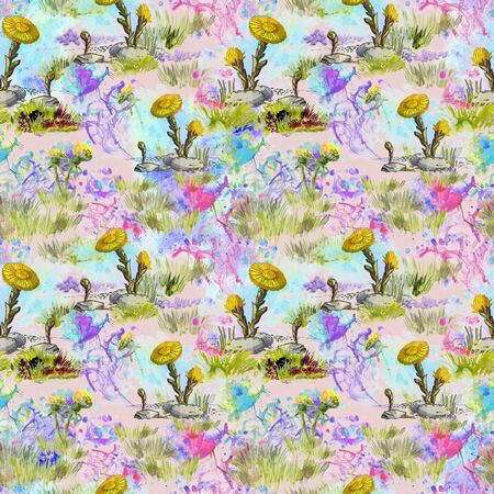 Seamless pattern with yellow spring flowers on a background of watercolor blots and blurry spots in light blue, lilac and pink colors Imagens