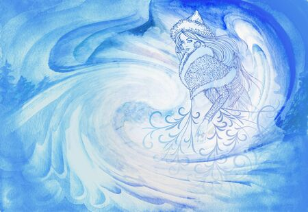 Beautiful blue-white watercolor background with winter maiden, snow and patterns