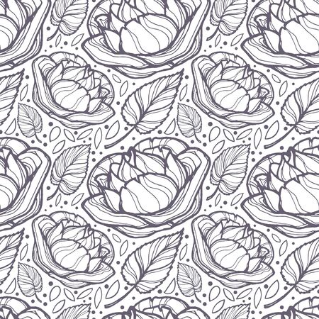 Vector image of transparent buds of roses, their leaves and specks on a light background. Seamless background for the design of wallpaper, textile and wrapping paper.