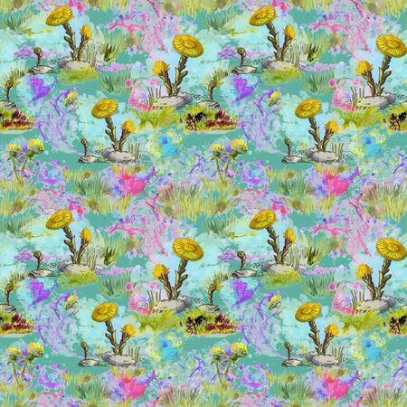 Seamless pattern with yellow coltsfoot spring flowers on a background of watercolor blots and blurry spots in light blue, lilac and pink colors.