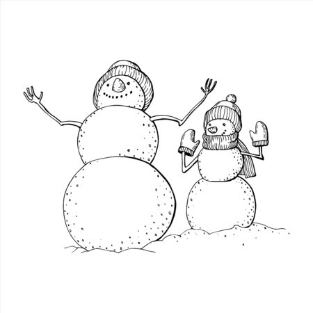 Hand-drawn funny cartoon snowmen in knitted hats. Black and white negoviki with their hands up. Drawing for coloring.
