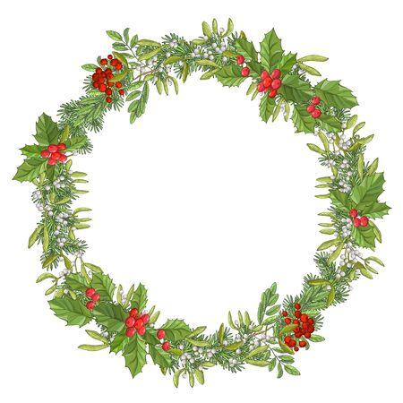 Okrągła girlanda świąteczna. Wakacyjna czerwona jagoda z zielonymi liśćmi i jemiołą. Dekorowanie na uroczysty krajowy na białym tle. Boże Narodzenie szablon projektu.