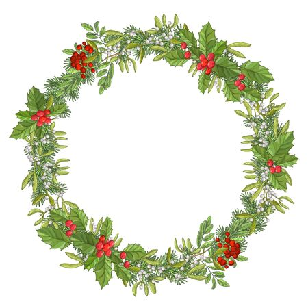 Round christmas garland. Holiday red berry with green leaves and mistletoe. Decorating for national Festive isolated on white background. xmas design template.