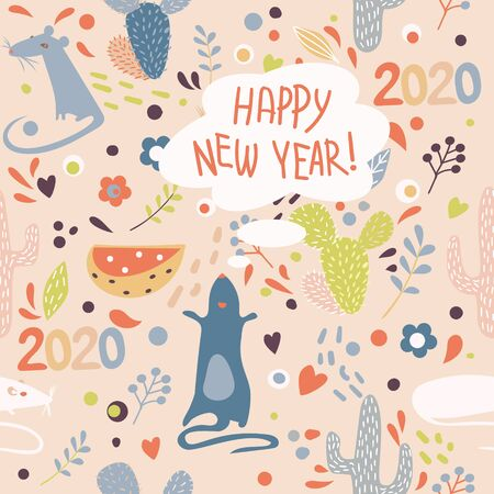 Vector image of a variety of mice, cacti, flowers and footprints with the English words Happy New Year in the Scandinavian style.