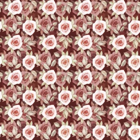 Abstract painting seamless pattern withwith watercolor dusty pink roses on a dark burgundy background. Seamless texture with imitation of depth and layering for card, banner, poster, cover, invitation