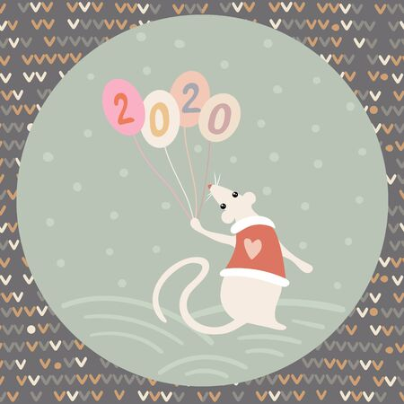Vector image of a cute rat in a yolk with a heart, balloons and numbers 2020 in a light green circle in the Scandinavian style on a colorful background