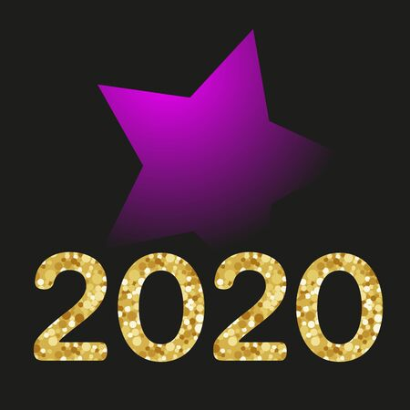 Happy New Year gold number 2020 and big purple star on dark background. Bright golden design with sparkle. Holiday glitter typography for Christmas banner, calendar, decoration, greeting card Ilustração