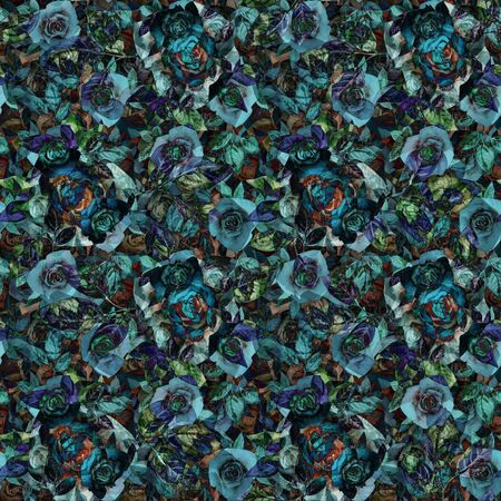 Abstract dark seamless pattern with roses. Graphic design for background, card, banner, poster, cover, invitation, header or brochure. Imagens