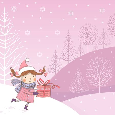 Vector image of a joyful girl in a scarf with a gift box in Scandinavian style on a pink background Ilustração