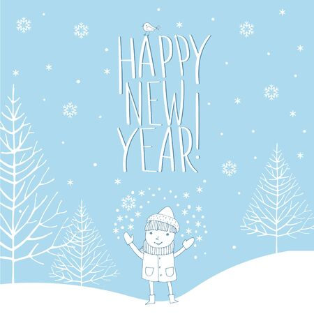 Vector image of a joyful boy in a hat, scarf and mittens under the snow on a blue background in the Scandinavian style with the inscription happy new year. 일러스트