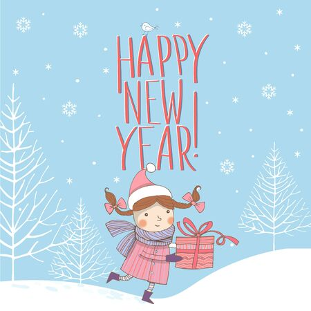 Vector image of a running girl with two pigtails and a gift box on a blue background in the Scandinavian style with the inscription Happy New Year