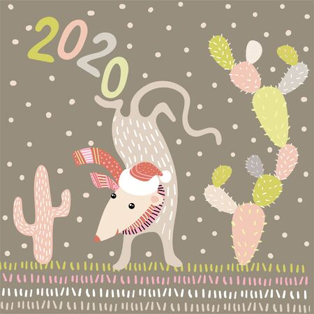 Acrobat mouse. Template postcard or Christmas poster with a pattern in the Scandinavian style. Cute illustration with animal - symbol of the year 2020.