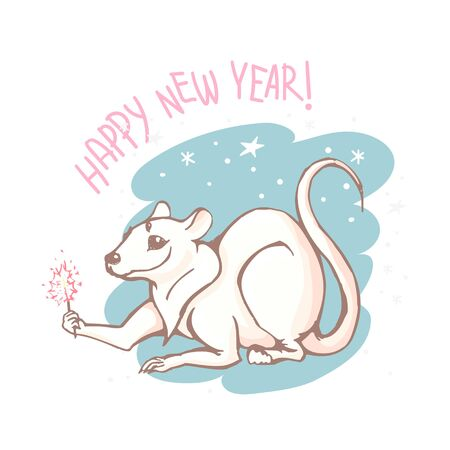 Vector white rat with sparkler and lettering Happy New Year.