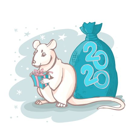 Vector white rat with a box of gifts and a full bag behind his back