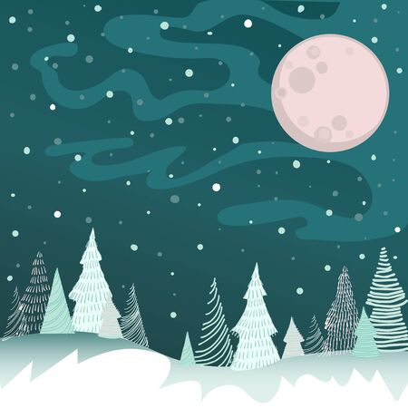 Vector image of a winter night with a full moon, snowflakes, snowdrifts and schematically drawn Christmas trees from lines and dashes on a green background 일러스트