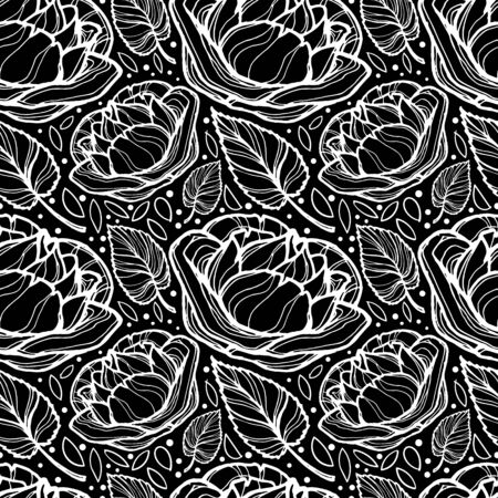Vector image of black-white flowers of roses and their leaves, as well as small dots. Seamless background for wallpaper, textile and wrapping paper. Çizim
