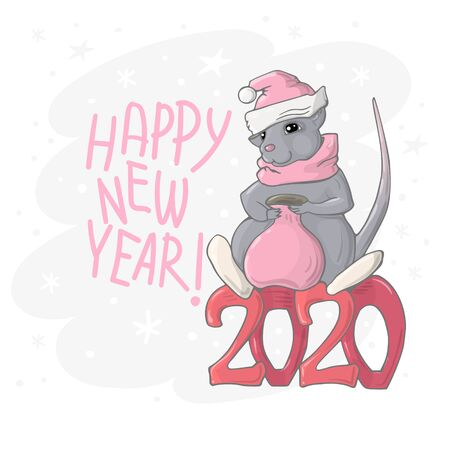 Vector image of a gray rat in a New Years hat and with a red bag for gifts sitting on the number 2020 and congratulation Happy New Year..