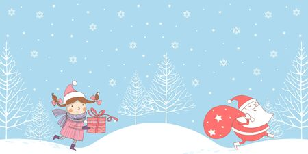 New year illustration in primitive style. Horizontal seamless border with Santa Claus and a girl with a gift walking along the snowy hills among the Christmas trees Çizim