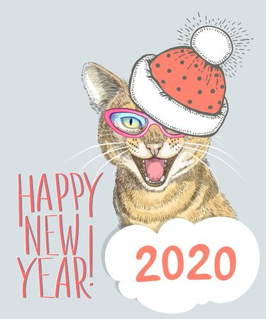 Vector image of a mewing cat in a hat and glasses with the inscription Happy New Year and place for text on a gray background. Hand drawn illustration in the Scandinavian style.. Illusztráció
