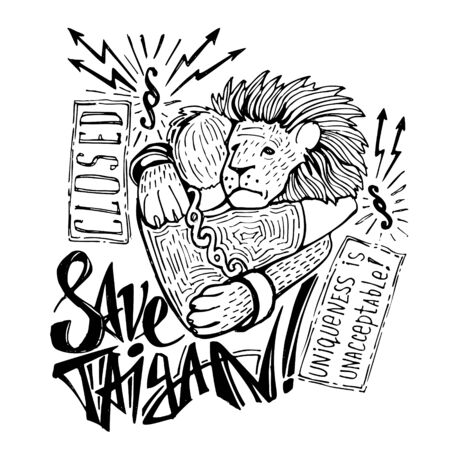 Hand-drawn poster inspired by the closure of the unique Crimean safari park Taigan . Primitive style drawing and lettering Stok Fotoğraf