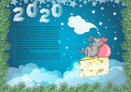 Template of a New Years card with the image of a rat soaring in the clouds on a piece of cheese with a glass of cocktail in its paw. Vector background with a frame of fir branches and the number 2020.