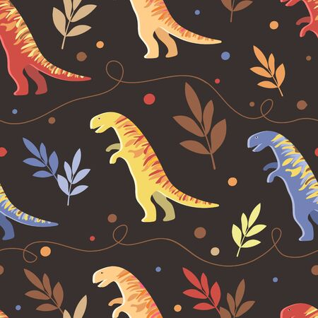 Vector image of multi-colored dinosaurs with leaves and curvy lines on a dark background. Seamless pattern for textile, wallpaper and graphic design Illusztráció