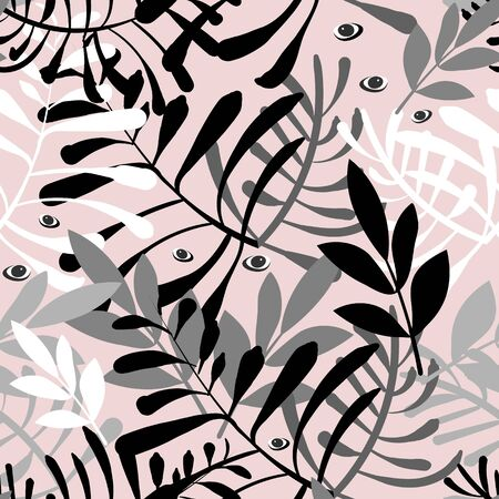 Vector image of stems and leaves of white and black on a pale pink background. Seamless pattern for textile, wrapping paper and wallpaper Çizim
