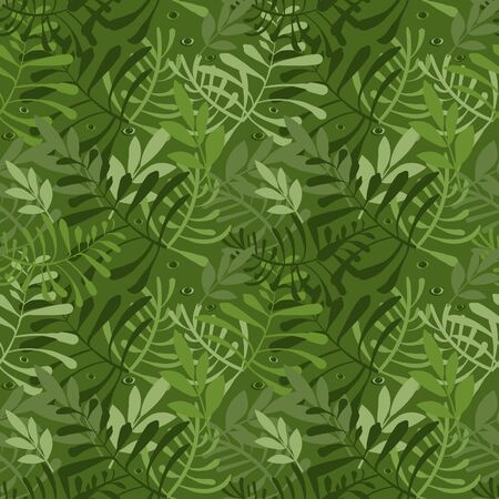 Vector image of carved leaves in a chaotic manner in green. Seamless background for wallpaper, textile and wrapping paper Illusztráció
