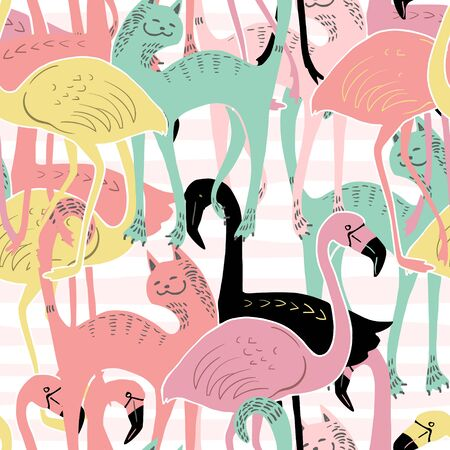 Vector image of multi-colored flamingos and cats on a white background. Seamless pattern for wallpaper, textile and graphic design