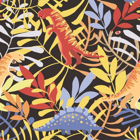 Vector image of different dinosaurs among leaves and plants on a dark gray background. Seamless pattern for textile, wallpaper and wrapping paper