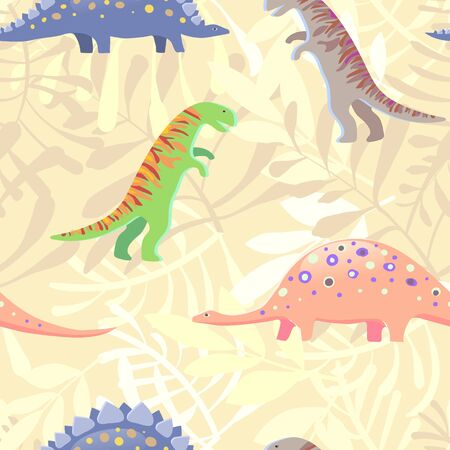 Vector image of a dinosaur among leaves and plants on a yellow background. Seamless pattern for textile and wrapping paper