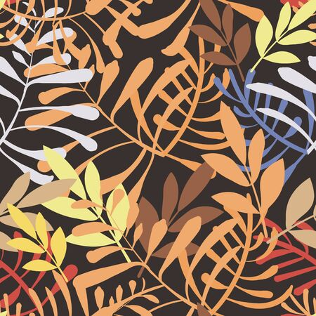 Vector image of colorful leaves and twigs in the jungle on a dark background. Seamless pattern for wallpaper, textile and wrappers Çizim