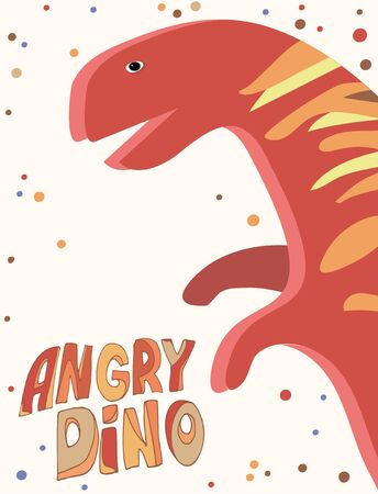 Vector image of a postcard on which is depicted a winged plan of a tyrannosaurus around which there are many multi-colored dots and the inscription angry dino on a white background..