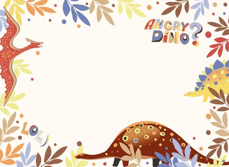 Vector image of a postcard with a white background and a frame of leaves, balls and ancient reptiles, as well as the inscriptions Angry Dino and lol)