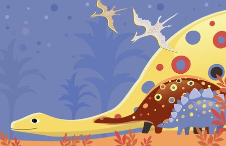 Vector image of the bright and colorful dinosaurs in the jungle on a blue background. Space for text