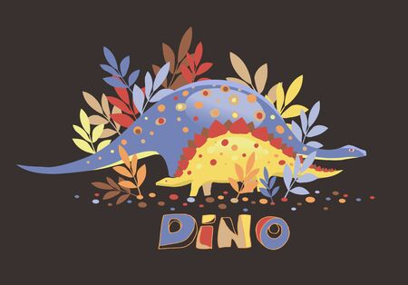 Vector image of two dinosaurs on a chen background and the inscription dino Çizim