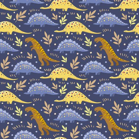 Vector image of tyrannosaurs, diplodocus and stegosaurs on a blue background. Seamless background for wallpaper, textile and wrapping paper