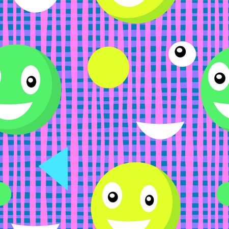 Vector image of smiling circles surrounded by balls, triangles and semicircles on a checkered pink-blue background. Seamless background for wallpaper, textile and wrapping paper Çizim