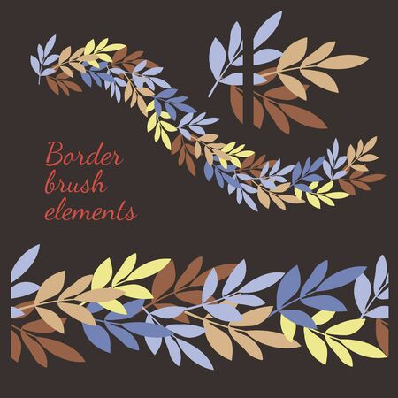 Decorative element to create a seamless brush. Hand-drawn simple leaves