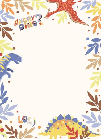 Vector white vertical postcard with a multi-colored frame of leaves, diplodocus, stegosaurus and pterodactyl, as well as the words Angry Dino and lol) Reklamní fotografie - 137827170