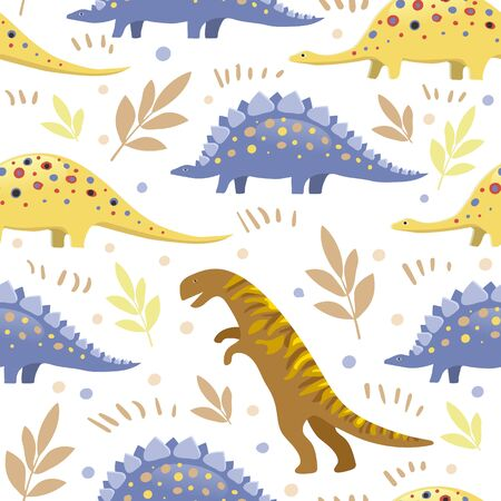 Vector image of three types of dinosaurs on a white background surrounded by circles and twigs. Seamless background for wallpaper, textile and wrapping paper