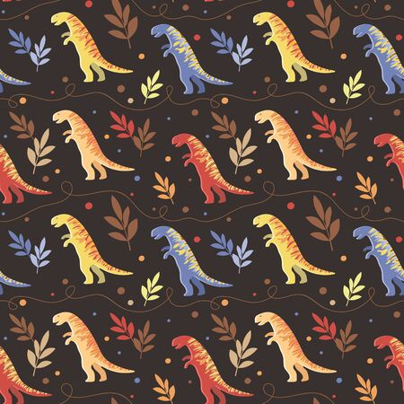 Background image of a heap of multi-colored striped tyrannosaurus on a dark background. Seamless pattern for wallpaper, textile and wrappers