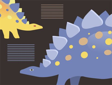 Vector image of two stegosaurs on a black background with place for text Stok Fotoğraf