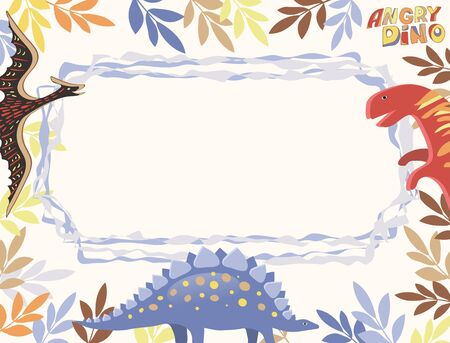 Vector horizontal card of white color with a multi-colored frame of leaves, diplodocus, stegosaurus and pterodactyl, as well as a wavy blue frame and the words Angry Dino.