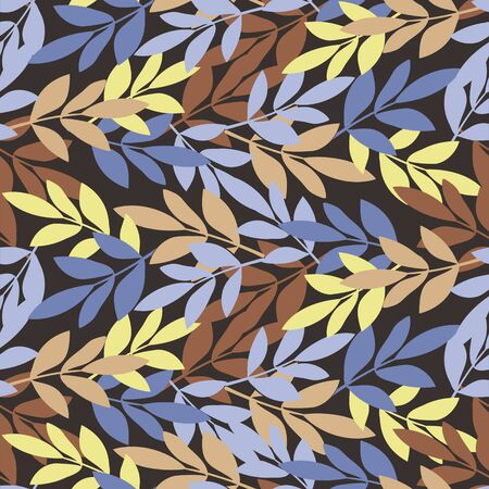 Vector image of many colorful leaves and twigs. Seamless background for wallpaper, textile and wrapping paper
