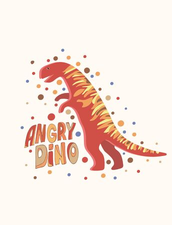 Vector image of a tyrannosaurus around which there are many multi-colored circles and the inscription angry dino on a white background