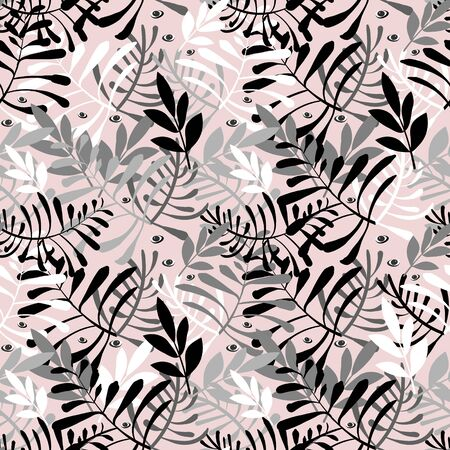 Vector image of gray, white and black twigs and leaves, as well as looking eyes on a cream background. Seamless background for wallpaper, textile and wrapping paper