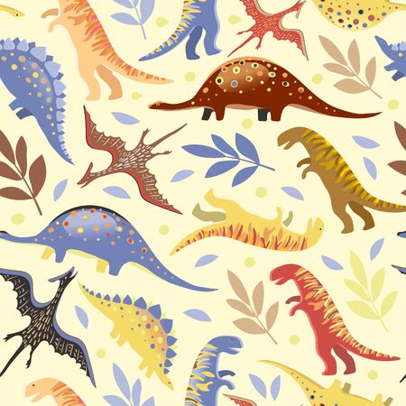 Vector image of diplodocus, tyrannosaurs, stegosaurs and pteranodons among circles and twigs on a light background. Seamless background for wallpaper, textile and wrapping paper