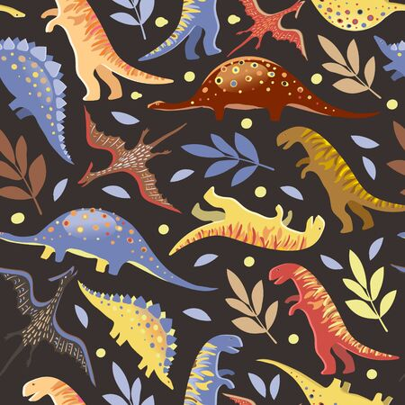 Vector image of diplodocus, tyrannosaurs, stegosaurs and pteranodons among circles and twigs on a dark background. Seamless background for textile and wrapping paper